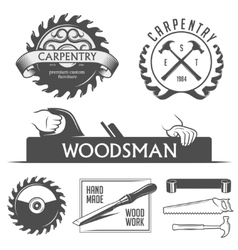 Carpentry and woodwork design elements in vintage vector image