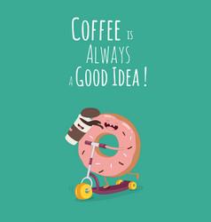 Cartoon comic coffee cup and donut take coffee vector