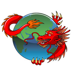 chinese dragon entwining earth vector image