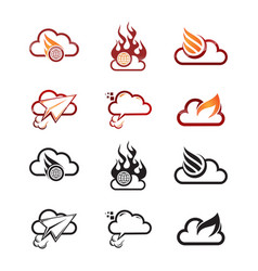 Cloud fire logo vector