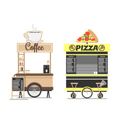 Coffee and pizza shops mockups isolated on white vector