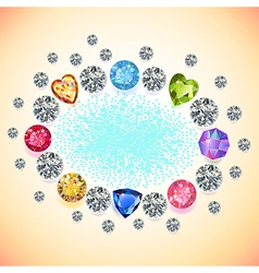 Colored gems oval frame vector