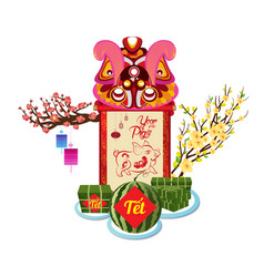 Cooked square glutinous rice cake and blossom vector