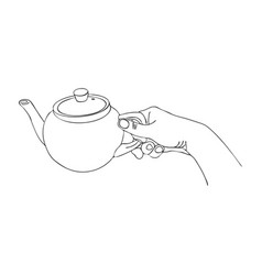 Cooking hand with teapot vector
