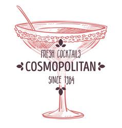 cosmopolitan fresh cocktail alcoholic beverage in vector image