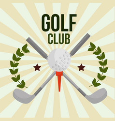 crossed sticks golf club ball on tee emblem vector image