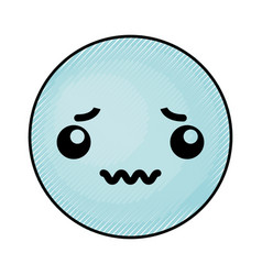 Cute blue kawaii emoticon face vector