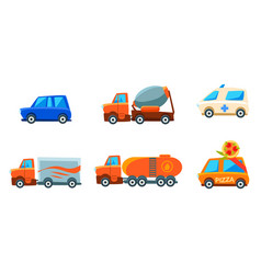 cute city transport set urban colorful childish vector image