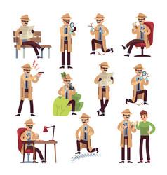 Detective characters cartoon police secret agent vector