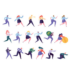 different running character reach goal success set vector image