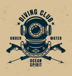diving school vintage emblem with two spear guns vector image