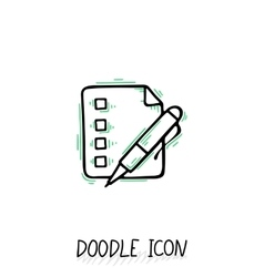 Doodle paper document icon Pictograph of note vector image