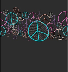 Doodle peace symbol seamless pattern background vector image