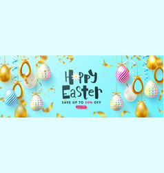 easter sale background with decorated eggs and vector image