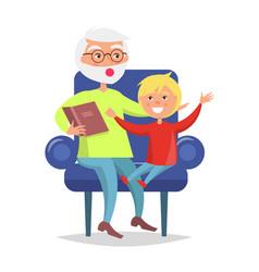 Elderly man in glasses reading book to grandson vector