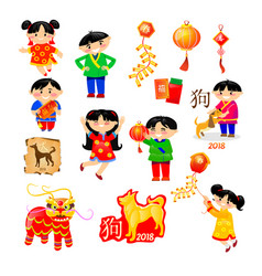 elements japanese and chinese new year vector image