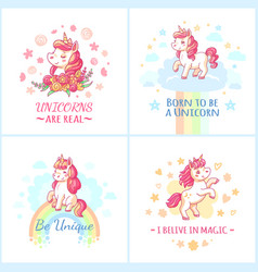 Fairy unicorn poster sweet rainbow magic unicorns vector