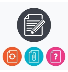 File edit icons Question help signs vector image