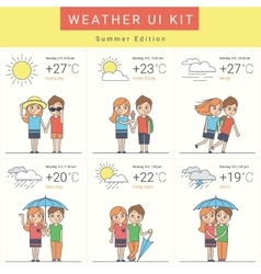 Flat weather widgets set with cute couple vector