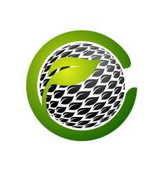 Flower circle shape abstract logo design template vector