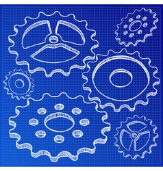gears on blueprint vector image