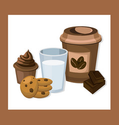 Glass of milk and coffee with biscuits and muffin vector