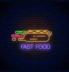 Glowing neon fast food sign with hurrying hot dog vector