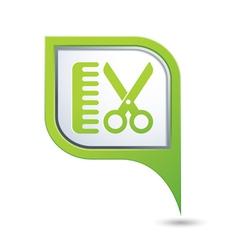Hairdressing salon icon on green pointer vector