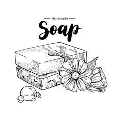 Handmade natural soap hand drawn vector