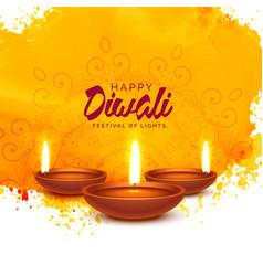 Happy diwali background with orange watercolor vector
