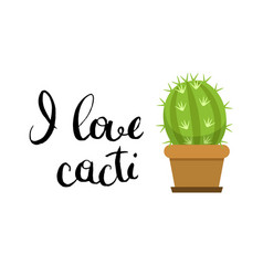 horizontal with cute cactus in vector image