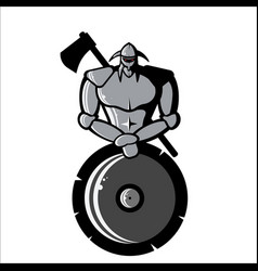 Image of silver viking with shield and ax vector