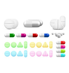 isolated healthcare white pills antibiotics or vector image