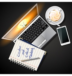 Laptop and mobile phone with book and coffee vector