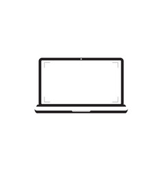 Laptop with blank screen notebook white screen vector
