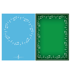 light blue and green backgrounds with music vector image
