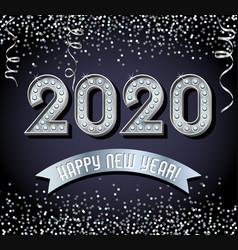 lighted 2020 happy new year design in silver vector image