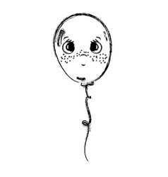 Line kawaii sad and cute balloon design vector