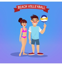 Man and woman playing volleyball with a ball vector