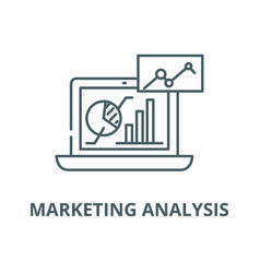 marketing analysis line icon linear vector image