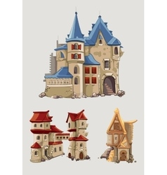 Medieval castles and buildings set in vector