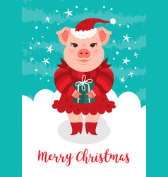 Merry christmas card funny christmas pig a vector
