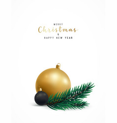 merry christmas greeting card with realistic pine vector image