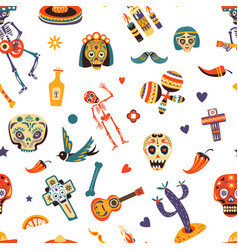mexico traditional elements mexican symbols and vector image
