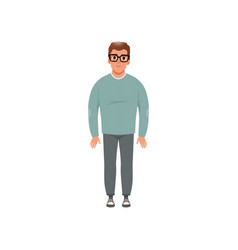 Middle aged man in casual clothes stage of vector