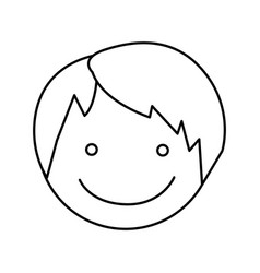 monochrome silhouette with boy face vector image vector image