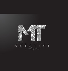 Mt m t letter logo with zebra lines texture vector