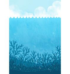 Ocean wave sand beach and cloud sky background vector
