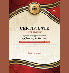Official certificate with red gold wave design vector