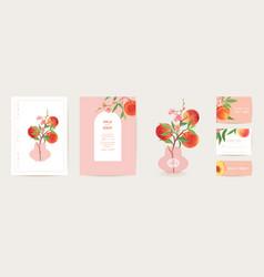 Peach invitation card wedding vintage vector